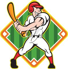 iCLIPART - Clip Art Illustration of a Baseball Player Poised to Hit the Ball
