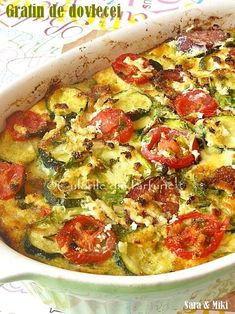 Gratin de dovlecei ~ Culorile din farfurie Diet Recipes, Vegetarian Recipes, Cooking Recipes, Bread Recipes, Vegetable Recipes, Vegetable Pizza, Baking Bad, Eggplant Recipes, Lunches And Dinners