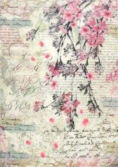 Rice Paper for Decoupage, Scrapbook Sheet, Craft Paper Peach Blossoms Writing