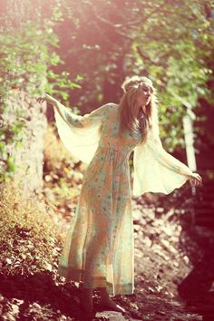 Vintage 60s/70s Bohemian Hippie, Maxi Dress. The Flower Children Were All About Softness, Length, Butterfly Sleeves....a Great Time For Fashion! (28.00, via Etsy.)