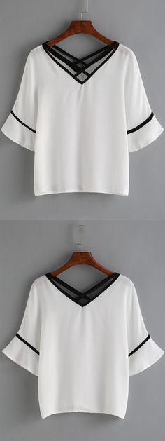 Double V Neck Bell Sleeve Trimmed Top