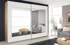 Rauch Alegro 2 Door Sliding Wardrobe in Oak and White - W Barker And Stonehouse, Moving Home, Sliding Wardrobe, Hanging Rail, Home Comforts, Mirror Door, Spare Room, Beautiful Bedrooms, Sliding Doors