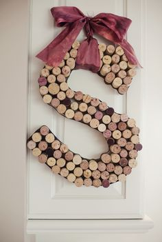 DIY Decorative Initial Made From Wine Corks. Great wedding decor that you can take home and treasure forever.    Fab You Bliss