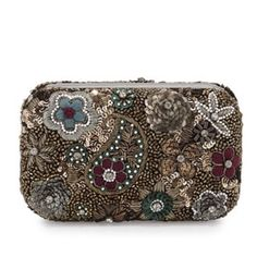 """Alice+Olivia Hard-shell Multi color Clutch Bag NWT Alice + Olivia Multi Colors Hard-shell Clutch Bag in paisley fabric with floral sequins and pearly beads.  Hard-shell design.  Hinged design with magnetic closure.  faille lining.  One slip pocket.  4""""H x 6.5""""W x 2.6""""D.   NWT and dust cover. Alice + Olivia Bags Clutches & Wristlets"""