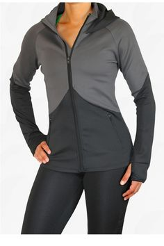 LivFit: This Jacket is designed with longer sleeves to make it possible to  have your hand in the thumb holes and still be able to reach on your top  shelf. With most jackets the shorter length leaves your waistline cold  and bare, we have fixed that problem by making it 2 inches longer! It is  made with a thick weight fabric than our other items to keep you warm and comfortable, but also still a 4 way stretch material.