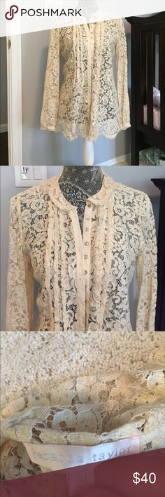 """Rebecca Taylor blouse Stunning lace button down blouse by Rebecca Taylor. This is perfect for warm weather and transitions perfectly to cooler weather, looks gorgeous layered as well. Lying flat, armpit to armpit measures approx 17"""" across Rebecca Taylor Tops"""