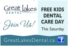 One of the signs we used to advertise Dr Jennifer Thomm's Free Kids Dental Day hosted at Great Lakes Dental in #Sarnia on August 9, 2014. Thank-you to everyone for supporting the event and helping to make far exceed everyone's expectations.