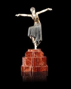 Demetre Chiparus (1886-1947) 'Shimmer' An Art Deco Bronze and Ivory Figure of a Female Dancer, circa 1925