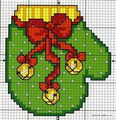 cross stitch pattern of a kitchen glove Christmas - free cross stitch patterns crochet knitting amigurumi Cross Stitch Christmas Ornaments, Xmas Cross Stitch, Christmas Embroidery, Christmas Cross, Cross Stitch Charts, Cross Stitch Designs, Cross Stitching, Cross Stitch Embroidery, Cross Stitch Patterns