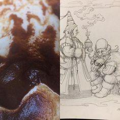 Reference photo of the shaman and the dwarf #schamane #sorceress #wizard #magic #sorcery #shaman #dwarf #gnome #fantasyart #fortuneteller #sketchbook #drawing #artoftheday #illustration #characterdesign #tale #fairytale #storyteller #healer