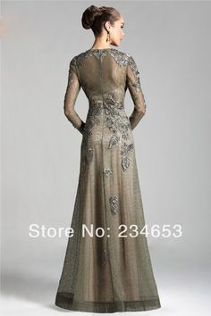 2014 Sexy Sheer Lace Appliques High Neck A-line Mother of the Bride Dresses with Long Sleeve Formal Evening Gown