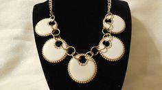 Vintage Cream Circle Bib Necklace Gold Statement Necklace with Clear Rhinestones Gold Tone 60's Style Necklace Collar Necklace