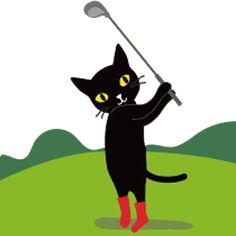 """LINE STICKER   for  golf lovers! ゴルフファンのためのLINEスタンプ! ゴルフが大好きなクロネコ・ミシェルの第二弾!日常会話「クロネコ""""Meeの日常#1,#2」、ビリヤード版「クロネコMee」も好評販売中です。 https://store.line.me/stickershop/product/1595496/ja"""
