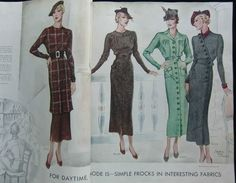 McCall Fashion Book, Spring 1935 featuring McCall 8105 on the left page, 8096, 8087 and 8100 on the right page
