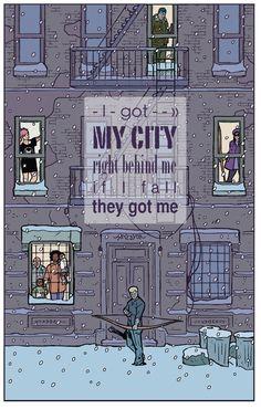 Hawkeye art with Macklemore lyrics