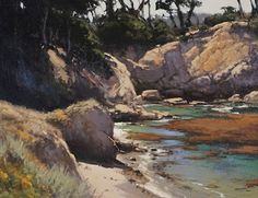 Hidden Beach at Granite Point by Brian Blood Oil ~ 20 x 24 Urban Landscape, Landscape Art, Landscape Paintings, Oil Paintings, Palm Desert California, Oil Painting Gallery, Ocean Scenes, Hidden Beach, Nature Pictures