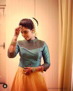 New Saree Blouse Designs, Half Saree Designs, Fancy Blouse Designs, Lehenga Designs, Anarkali Dress Pattern, Lehnga Dress, Bride Reception Dresses, South Indian Wedding Saree, Gown Party Wear