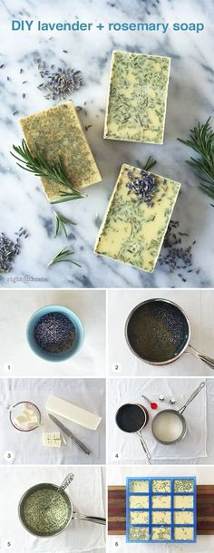 Lavender & rosemary soap makes for a perfectly scented DIY gift! Soap Making Recipes, Homemade Soap Recipes, Homemade Gifts, Diy Cosmetic, Savon Soap, Soap Making Supplies, Lavender Soap, Homemade Beauty Products, Handmade Soaps