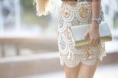 Bedazzled scalloped skirt.