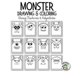 Monster Adjectives: Fun Drawing & Texture Art Lesson - Monsters & Co - Epoxepox Art Projects For Teens, Art Activities For Kids, Easy Art Projects, Art For Kids, Halloween Art Projects, Art Texture, Texture Drawing, Documents D'art, Monster Co