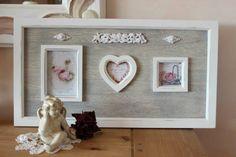 """Grand cadre romantique """"Roses"""" - Cadre patiné gris et blanc effet shabby chic : Accessoires de maison par charmyandco"""