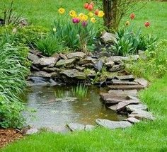 small garden pond - would love to have one in my backyard! Ponds For Small Gardens, Small Ponds, Water Gardens, Goldfish Pond, Pond Fountains, Outdoor Fountains, Ponds Backyard, Backyard Waterfalls, Pond Landscaping