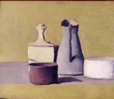 Giorgio Morandi I chose this painting because it almost looked like that it was a photo of a clay model. This particular art piece was interesting because it looked like it had a texture to it. Painting Still Life, Still Life Art, Italian Painters, Italian Artist, Simple Subject, Observational Drawing, Art Walk, Art Moderne, Modern Artists