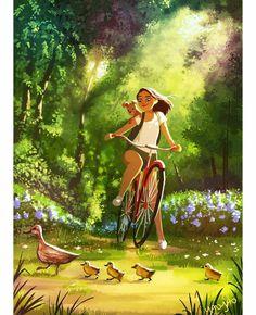 Simple summer happiness in an illustration by Yaoyao Ma Van As Cartoon Kunst, Cartoon Art, Fantasy Kunst, Fantasy Art, Dog Illustration, Illustrations, Posca Art, Dibujos Cute, Animation
