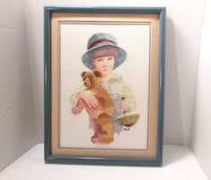 Vintage Little Boy W/ Teddy Bear Crewel Needlepoint Cross Stitch Framed 17 x 13 in Crafts, Handcrafted & Finished Pieces, Needle Arts & Crafts, Needlepoint | eBay