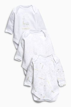 Buy Three Pack Long Sleeve White Soft Zoo Bodysuits (5LB-2yrs) online today at Next: United States of America