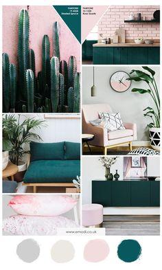 Pink and green interior decor moodboard, pantone colour palette. Luxury feminine interior, tropical greenery decor, green sofa, pink cushions. Mood board.