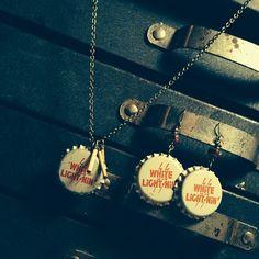 Necklace or earrings? #rustbeltamericana #rust #belt #americana #vintage #junkyard #jewelry #bottlecap #whitelightnin #60s #georgejones #bamboo #necklace #earrings