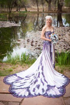 Purple trimmed wedding dress via Offbeat Bride. Ombre Wedding Dress, Fantasy Wedding Dresses, Fantasy Dress, Wedding Gowns, Wedding Dress With Purple, Rainbow Wedding Dress, Wedding Cakes, Purple Bridesmaid Dresses, Colored Wedding Dresses