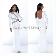 2014 New Sheath white long sleeve crystal scoop stain custome-made DY-034