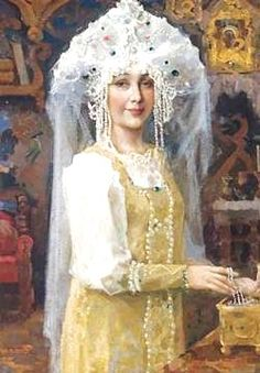 """Russian costume in painting. """"Russian Bride"""" by Victor Vasnetsov, late 19th – early 20th century. #art"""