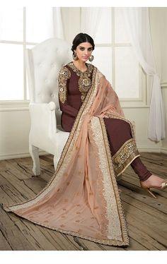 Adorable Brown Churidar Kameez with Designer Dupatta
