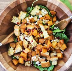 Autumn Panzanella: a bread salad with roasted butternut squash, pomegranate seeds, goat cheese and a honey vinaigrette.
