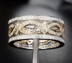 Vogue Gem - 14K Two Tone Gold Unique Eternity Band 1.05CT Diamond Women Men Wedding Ring , $1,068.00 (http://www.voguegem.com/14k-two-tone-gold-unique-eternity-band-1-05ct-diamond-women-men-wedding-ring/)