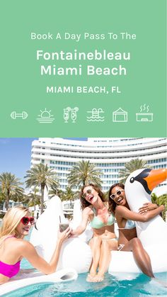 Experience a day at the historically renowned hotel in Miami Beach- the legendary Fontainebleau. Soak up sunny skies, ocean breezes, sparkling pools, and spectacular beaches for an unforgettable day of luxury and relaxation. Kick back in a shaded cabana and explore over 10 pools, order cool drinks and lunch from the poolside menu, or lounge under a beach umbrella lulled by the sound of the surf. #Florida Florida Hotels, Hotels And Resorts, Beach Umbrella, Fun Drinks, Miami Beach, Cabana, Pools, Beaches, Surfing