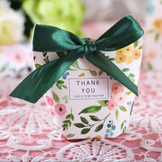 "50 Pcs Green Floral ""Thank You"" Wedding Favors Candy Boxes Food Wedding Favors, Wedding Candy Boxes, Homemade Wedding Favors, Wedding Shower Favors, Beach Wedding Favors, Card Box Wedding, Wedding Gifts, Making A Wedding Dress, Ramadan Gifts"