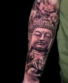 Ganesha Tattoo Sleeve, Asian Tattoo Sleeve, Half Sleeve Tattoos Drawings, Japanese Sleeve Tattoos, Tattoo Sleeve Designs, Foo Dog Tattoo Design, Buddha Tattoo Design, Colombe Tattoo, Buda Tattoo