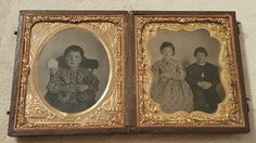 Vintage Antique Double Daguerreotype Photograph Children One with Scary Eyes