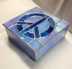 Stained Glass Jewelry Box  Peace Sign Box  Blue by PeaceLuvGlass, $48.00