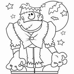 halloween monster coloring page to trace in scal for cutting with cricut