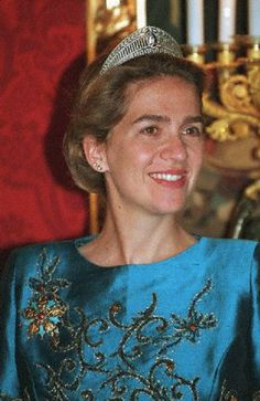 Infanta Cristina of Spain at the banquet held in honor of Hosni Mubarak at the royal palace in 2000