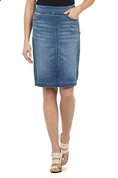 Rekucci Jeans Womens Ease In To Comfort Fit Pull-on Stretch Denim Skirt