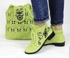 Обувь ручной работы. Ярмарка Мастеров - ручная работа. Купить Льняные ботиночки вязаные сумка комплект. Handmade. Хаки
