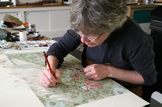 Angie Lewin working on a watercolour drawing Angie Lewin, Watercolor Drawing, Linocut Prints, Art Studios, Artist At Work, Printmaking, Art Reference, Arts And Crafts, Drawings