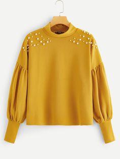 Ginger Preppy Mock Neck Pearl Embellished Drop Shoulder Solid Sweatshirt 2019 Spring Casual Campus Women Sweatshirts YELLOW M – Hijab Fashion 2020 Hijab Styles, Blouse Styles, Blouse Designs, Mode Abaya, Mode Hijab, Hijab Fashion, Girl Fashion, Fashion Dresses, Iranian Women Fashion