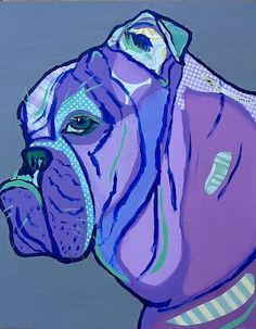 Friendly Bulldog Collage in Purples Limited by zouzousbasement, $32.00